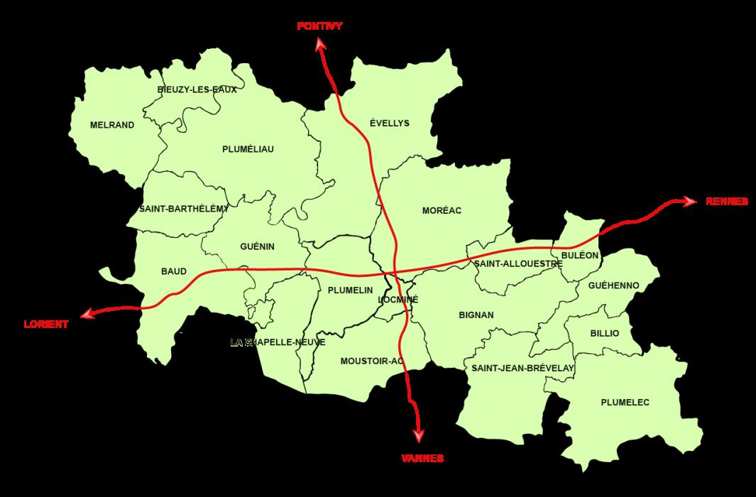 Carte Centre Morbihan Communauté